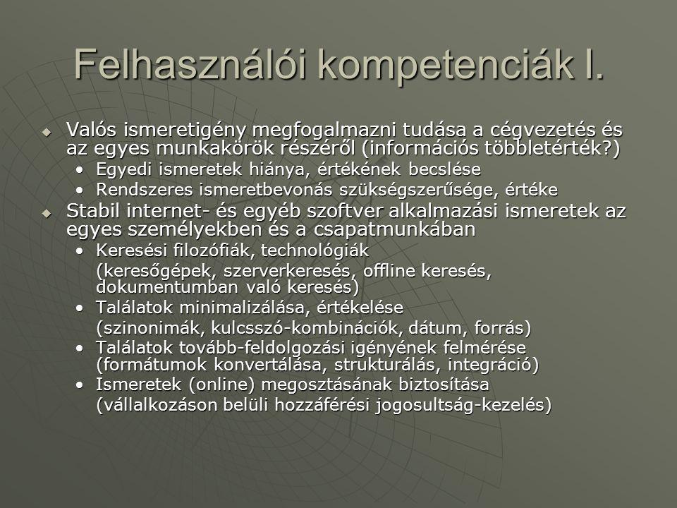 Felhasználói kompetenciák I.