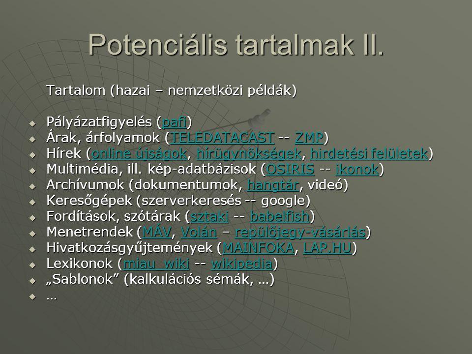 Potenciális tartalmak II.
