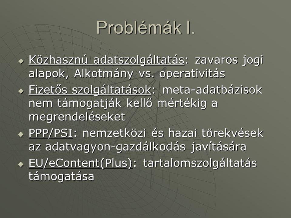 Problémák I. Közhasznú adatszolgáltatás: zavaros jogi alapok, Alkotmány vs. operativitás.