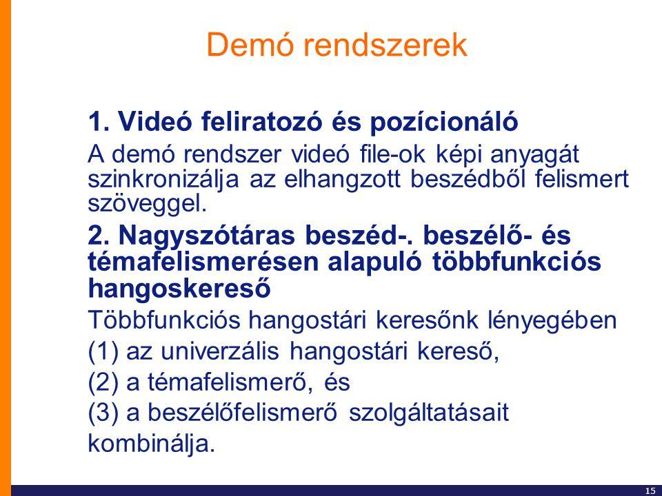 Demó rendszerek 1. Videó feliratozó és pozícionáló
