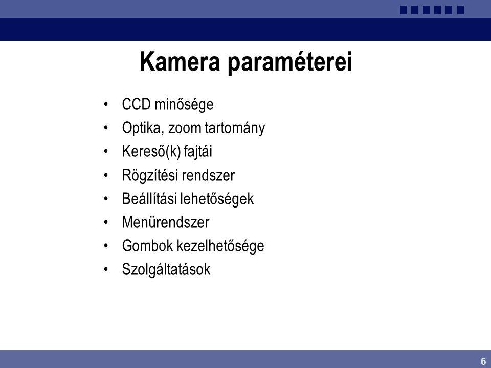 Kamera paraméterei CCD minősége Optika, zoom tartomány
