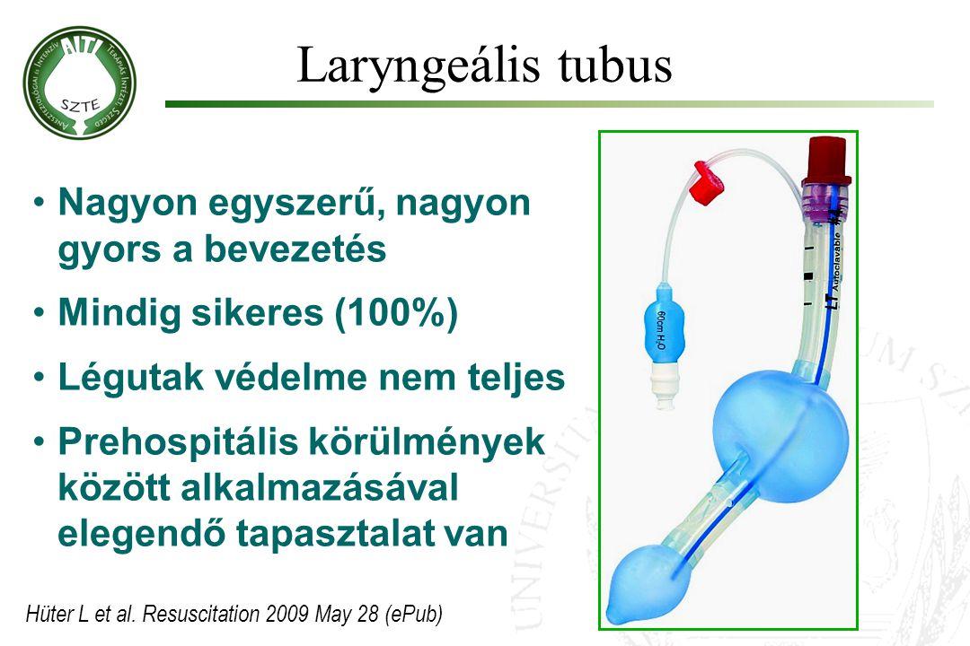 Laryngeális tubus Nagyon egyszerű, nagyon gyors a bevezetés