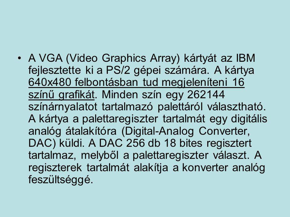 A VGA (Video Graphics Array) kártyát az IBM fejlesztette ki a PS/2 gépei számára.