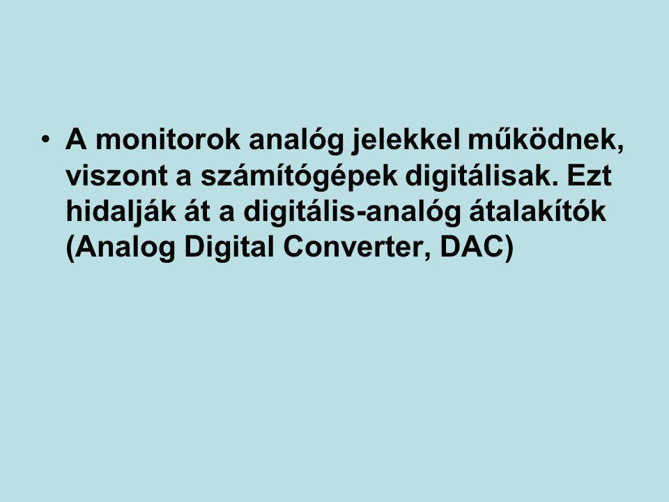 A monitorok analóg jelekkel működnek, viszont a számítógépek digitálisak.