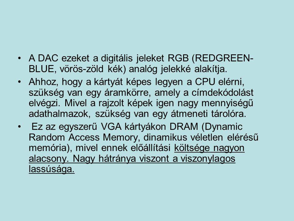 A DAC ezeket a digitális jeleket RGB (REDGREEN-BLUE, vörös-zöld kék) analóg jelekké alakítja.