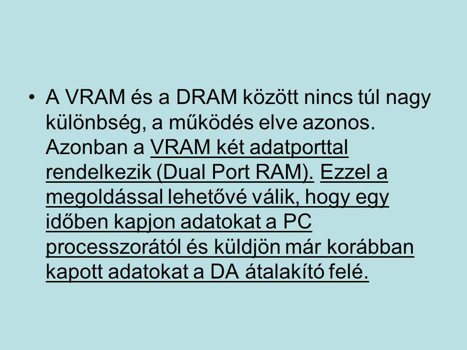 A VRAM és a DRAM között nincs túl nagy különbség, a működés elve azonos.