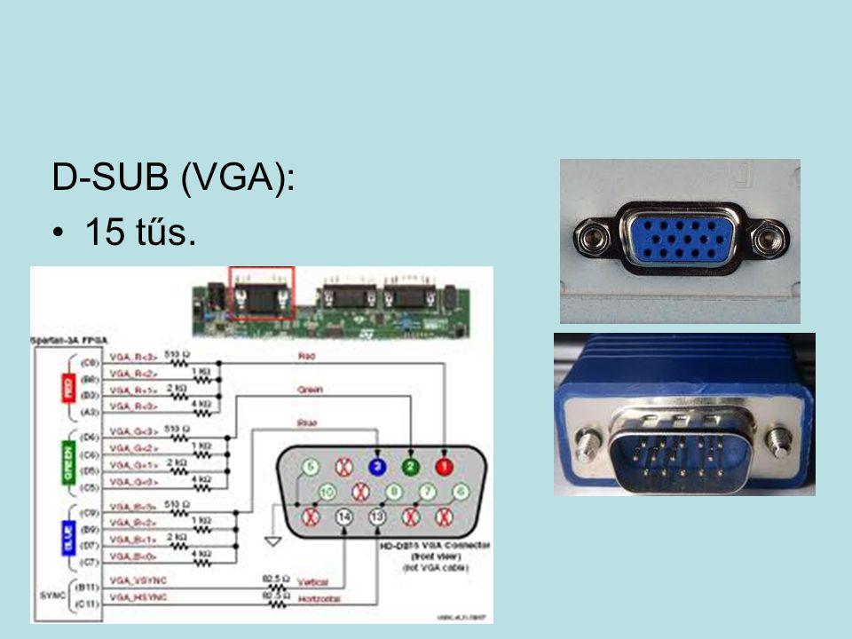 D-SUB (VGA): 15 tűs.