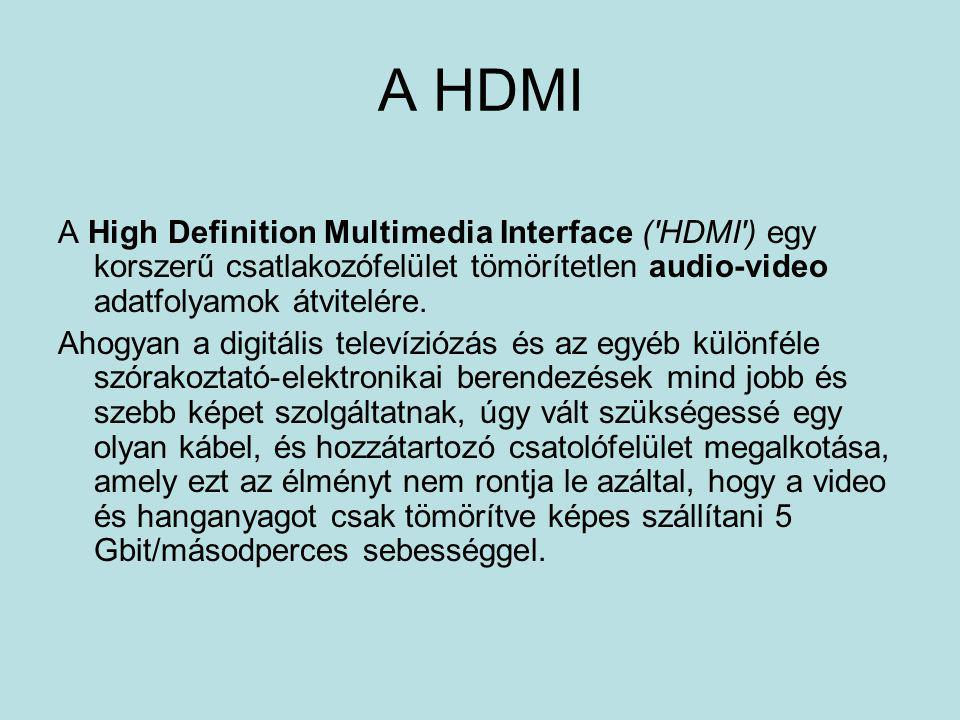 A HDMI A High Definition Multimedia Interface ( HDMI ) egy korszerű csatlakozófelület tömörítetlen audio-video adatfolyamok átvitelére.