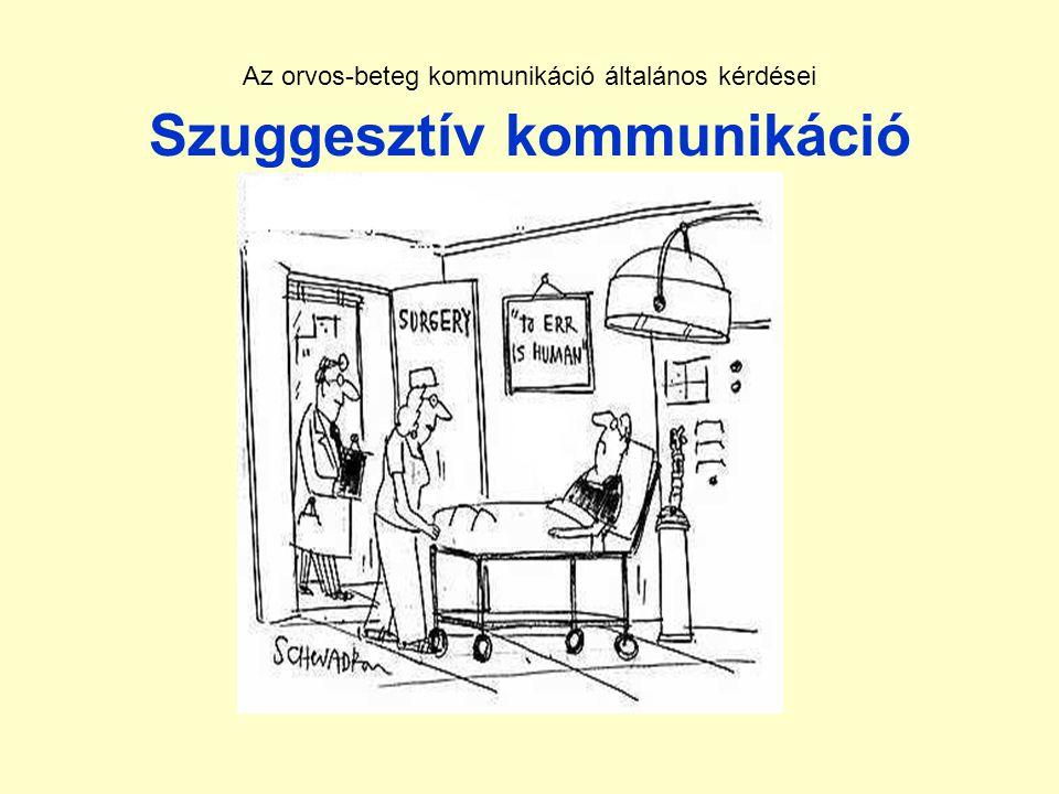 Az orvos-beteg kommunikáció általános kérdései Szuggesztív kommunikáció