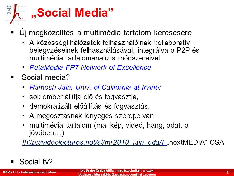 """""""Social Media Új megközelítés a multimédia tartalom keresésére"""