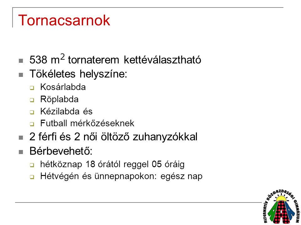 Tornacsarnok 538 m2 tornaterem kettéválasztható Tökéletes helyszíne: