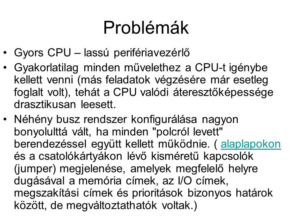 Problémák Gyors CPU – lassú perifériavezérlő