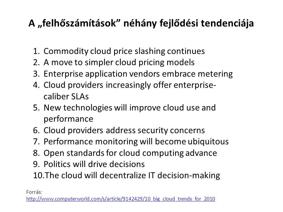 """A """"felhőszámítások néhány fejlődési tendenciája"""