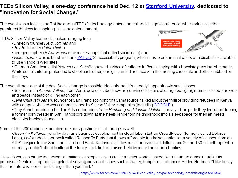 TEDx Silicon Valley, a one-day conference held Dec