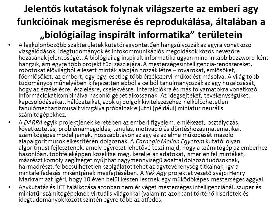 """Jelentős kutatások folynak világszerte az emberi agy funkcióinak megismerése és reprodukálása, általában a """"biológiailag inspirált informatika területein"""