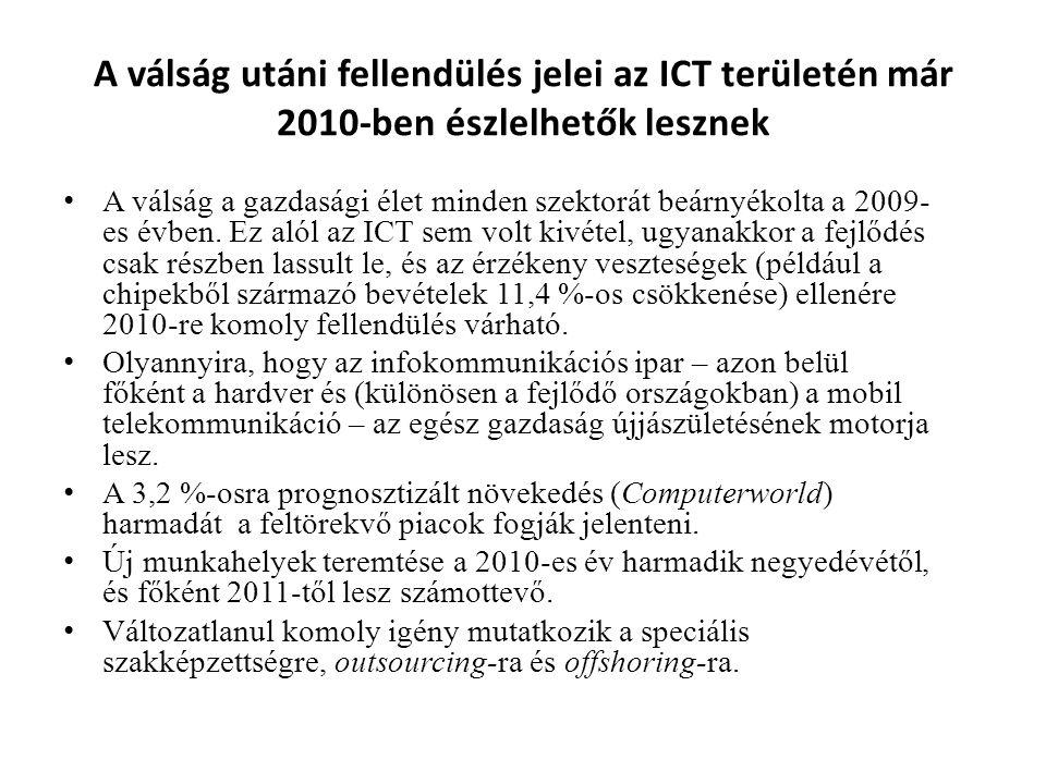 A válság utáni fellendülés jelei az ICT területén már 2010-ben észlelhetők lesznek