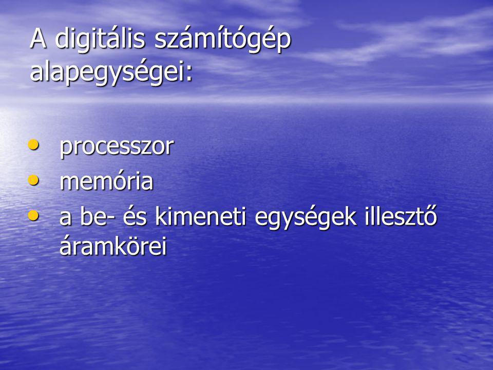 A digitális számítógép alapegységei: