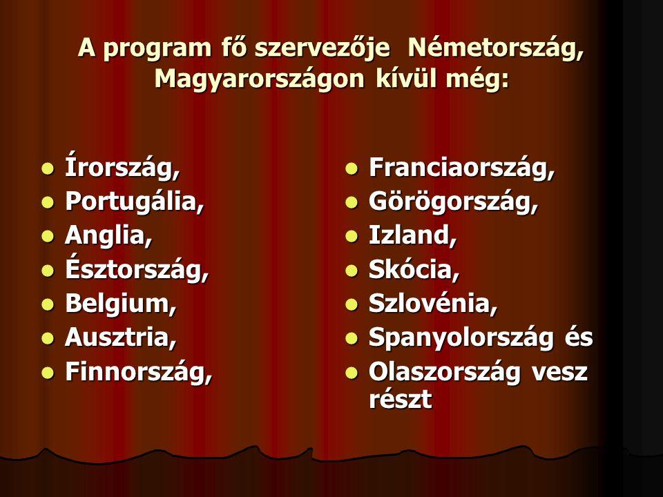 A program fő szervezője Németország, Magyarországon kívül még:
