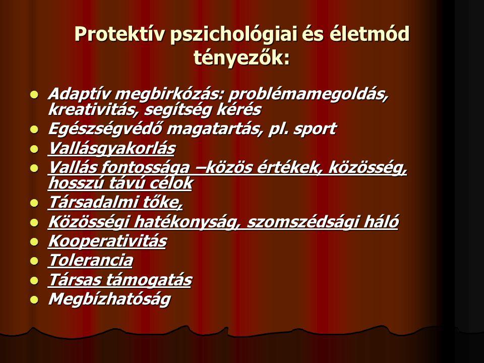 Protektív pszichológiai és életmód tényezők: