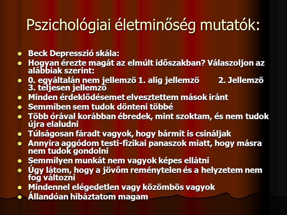 Pszichológiai életminőség mutatók: