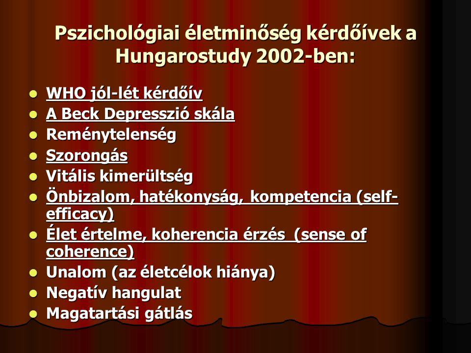 Pszichológiai életminőség kérdőívek a Hungarostudy 2002-ben: