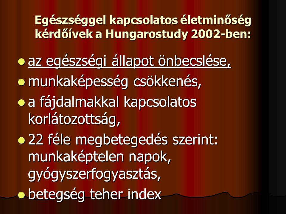 Egészséggel kapcsolatos életminőség kérdőívek a Hungarostudy 2002-ben: