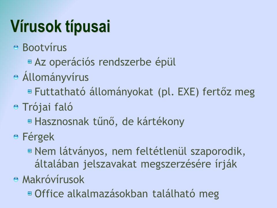 Vírusok típusai Bootvírus Az operációs rendszerbe épül Állományvírus