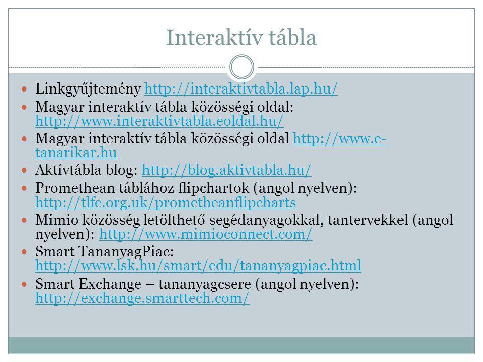 Interaktív tábla Linkgyűjtemény http://interaktivtabla.lap.hu/