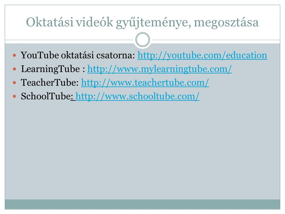 Oktatási videók gyűjteménye, megosztása