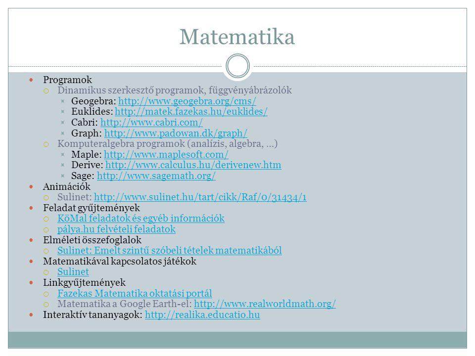 Matematika Programok Dinamikus szerkesztő programok, függvényábrázolók