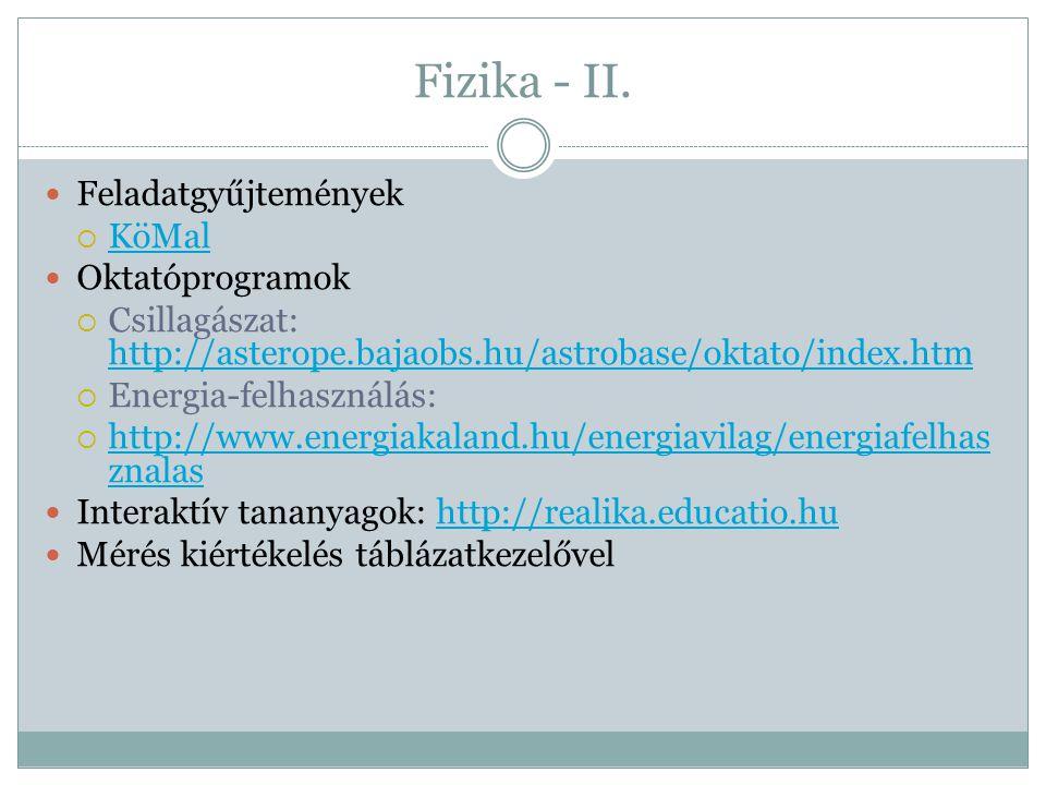 Fizika - II. Feladatgyűjtemények KöMal Oktatóprogramok
