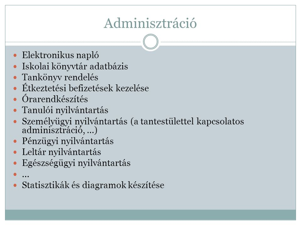 Adminisztráció Elektronikus napló Iskolai könyvtár adatbázis