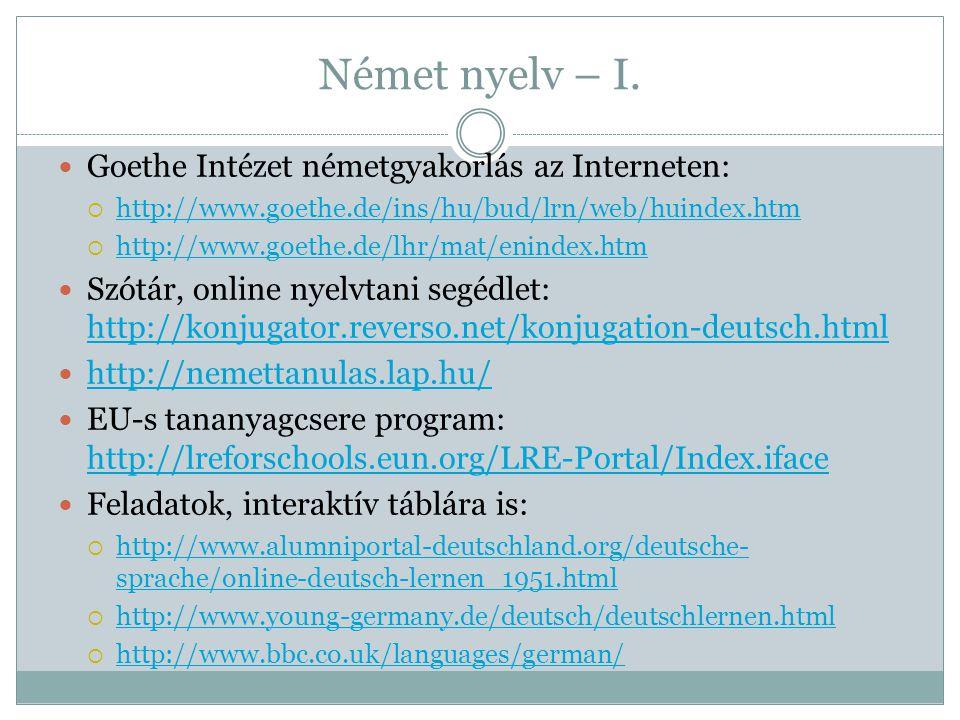 Német nyelv – I. Goethe Intézet németgyakorlás az Interneten: