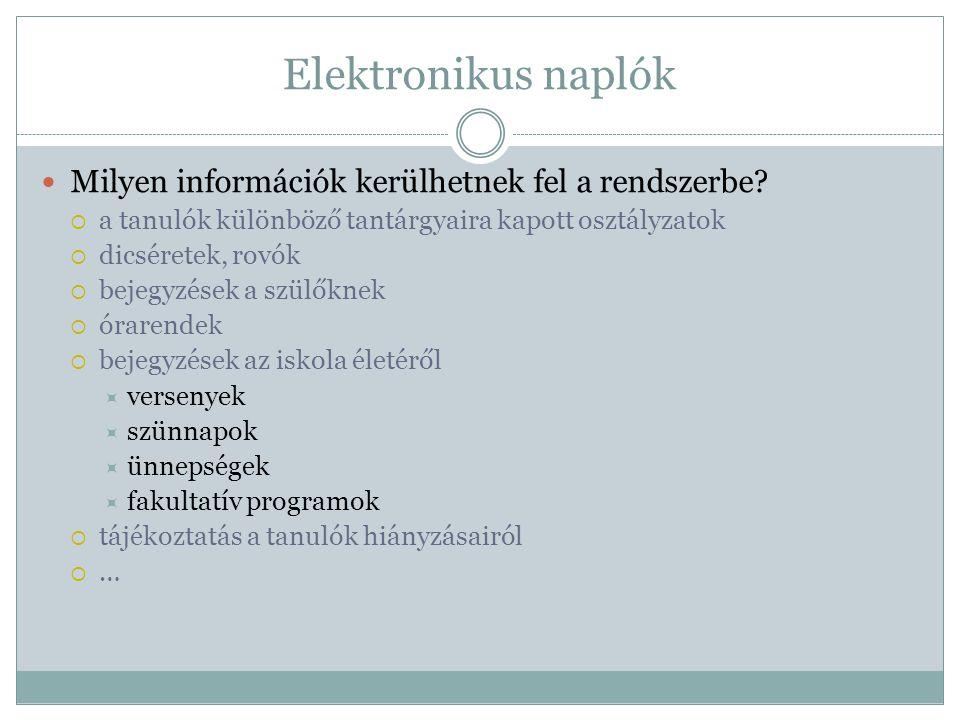 Elektronikus naplók Milyen információk kerülhetnek fel a rendszerbe