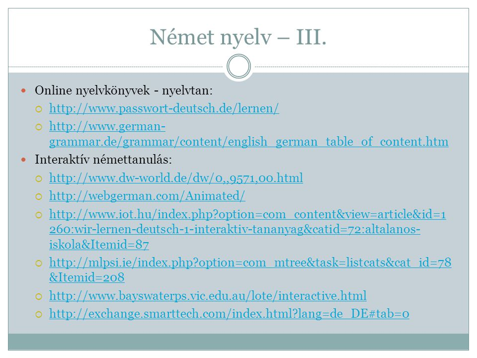 Német nyelv – III. Online nyelvkönyvek - nyelvtan: