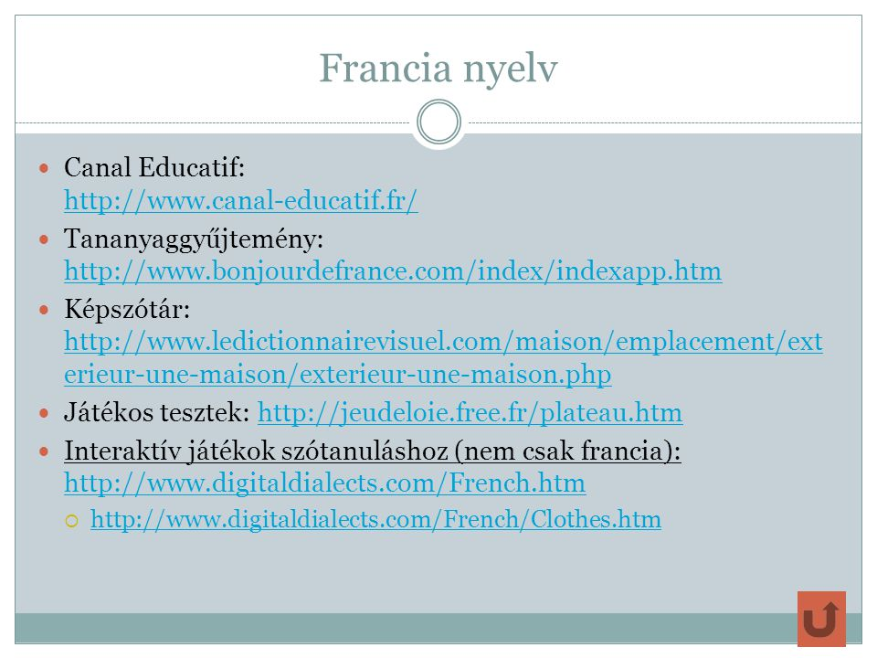 Francia nyelv Canal Educatif: http://www.canal-educatif.fr/
