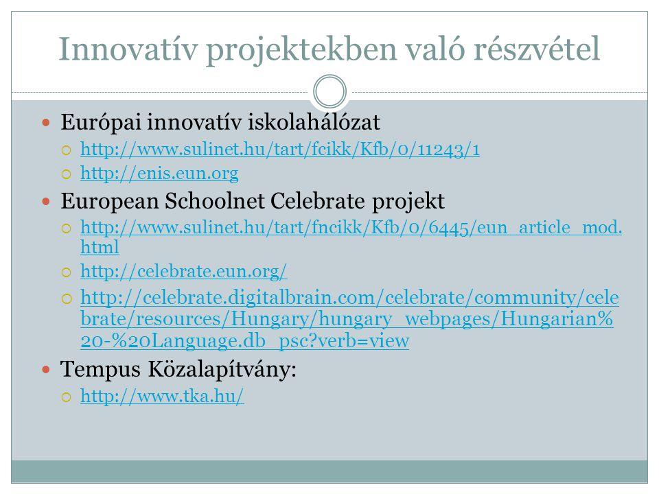 Innovatív projektekben való részvétel