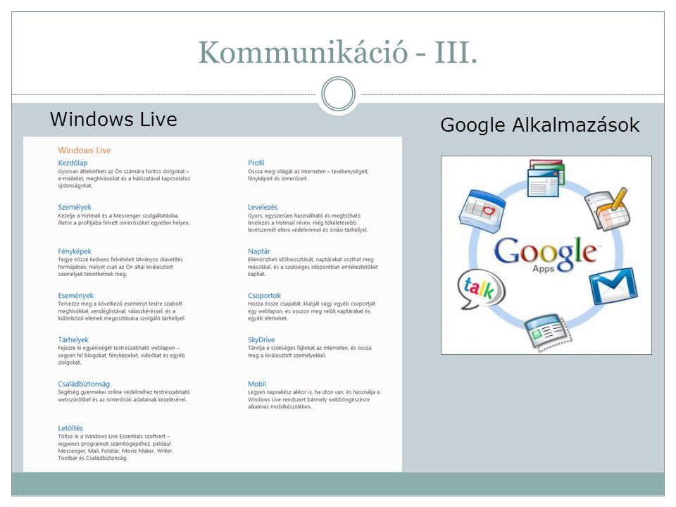 Kommunikáció - III. Windows Live Google Alkalmazások