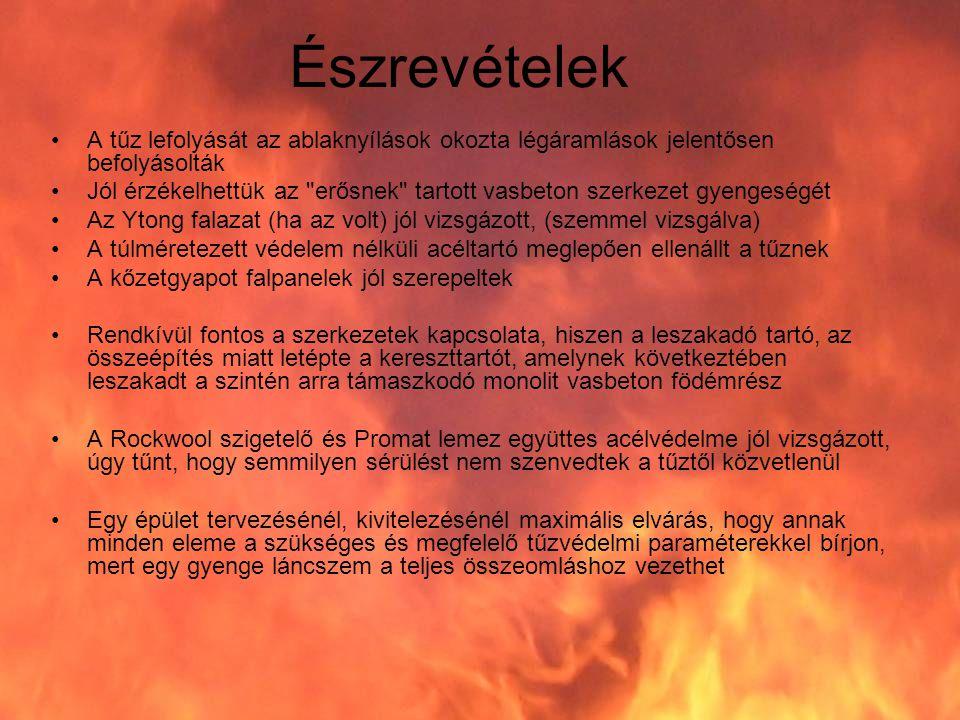 Észrevételek A tűz lefolyását az ablaknyílások okozta légáramlások jelentősen befolyásolták.
