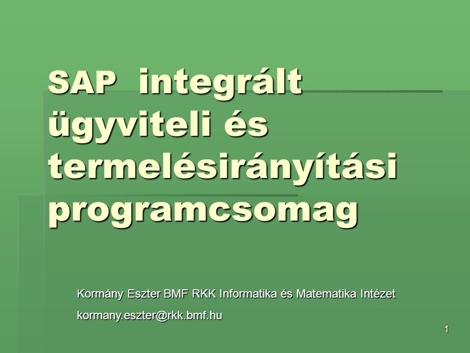 SAP integrált ügyviteli és termelésirányítási programcsomag