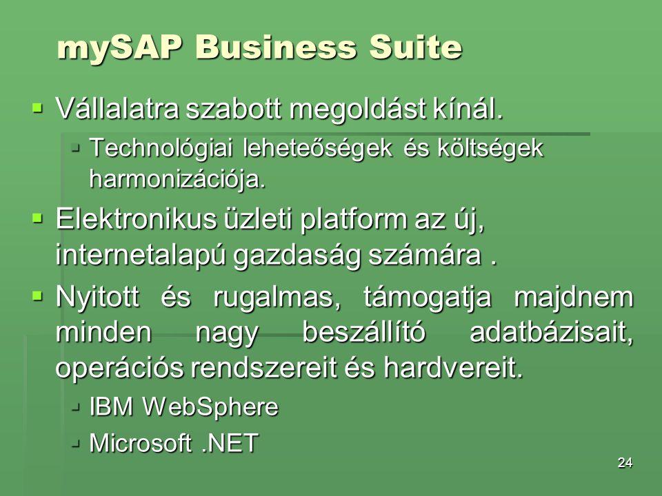 mySAP Business Suite Vállalatra szabott megoldást kínál.