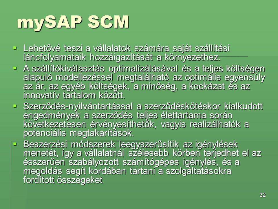 mySAP SCM Lehetővé teszi a vállalatok számára saját szállítási láncfolyamataik hozzáigazítását a környezethez.