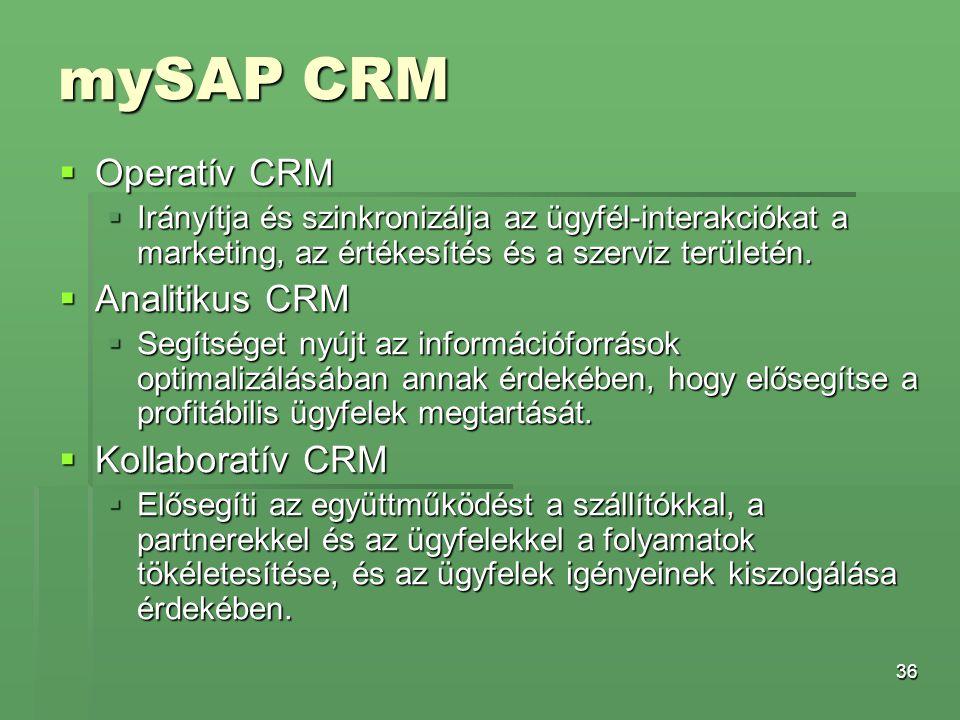 mySAP CRM Operatív CRM Analitikus CRM Kollaboratív CRM