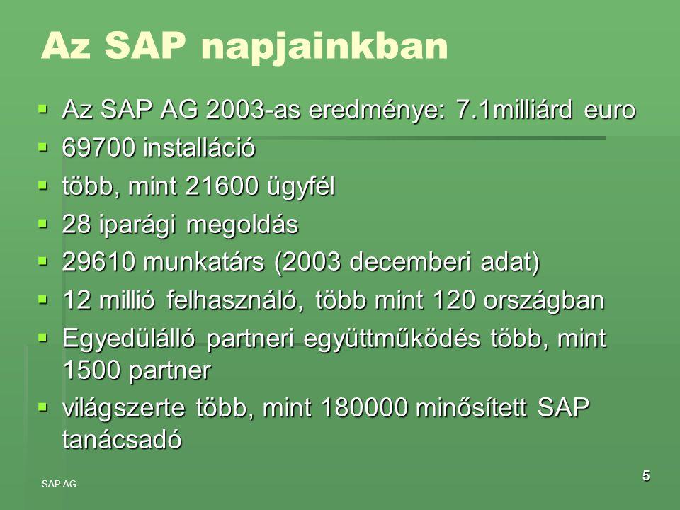 Az SAP napjainkban Az SAP AG 2003-as eredménye: 7.1milliárd euro