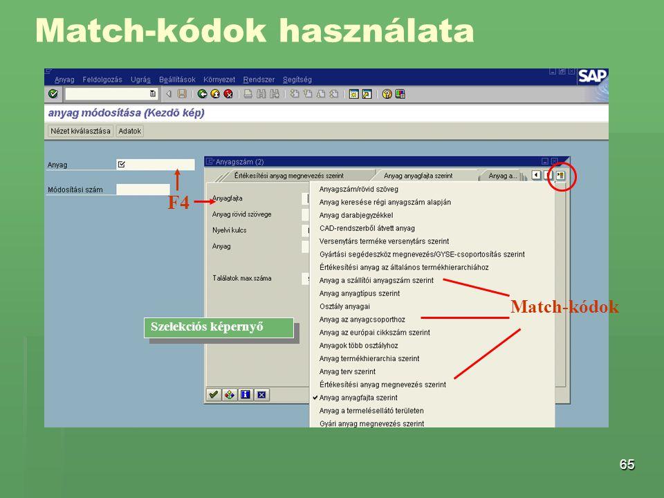 Match-kódok használata