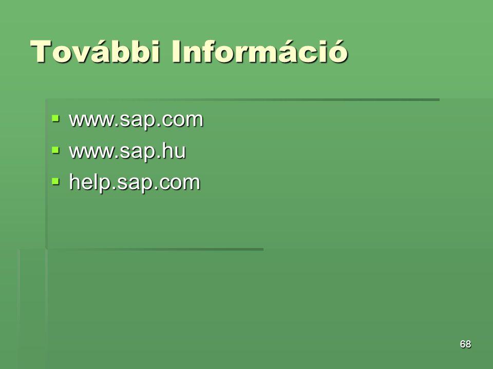 További Információ www.sap.com www.sap.hu help.sap.com