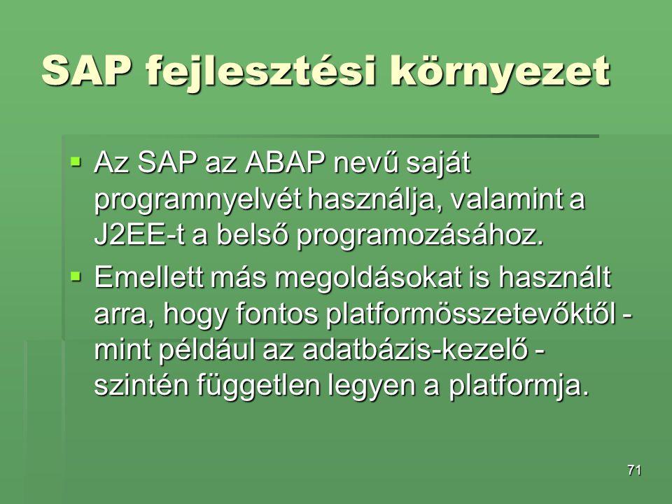 SAP fejlesztési környezet