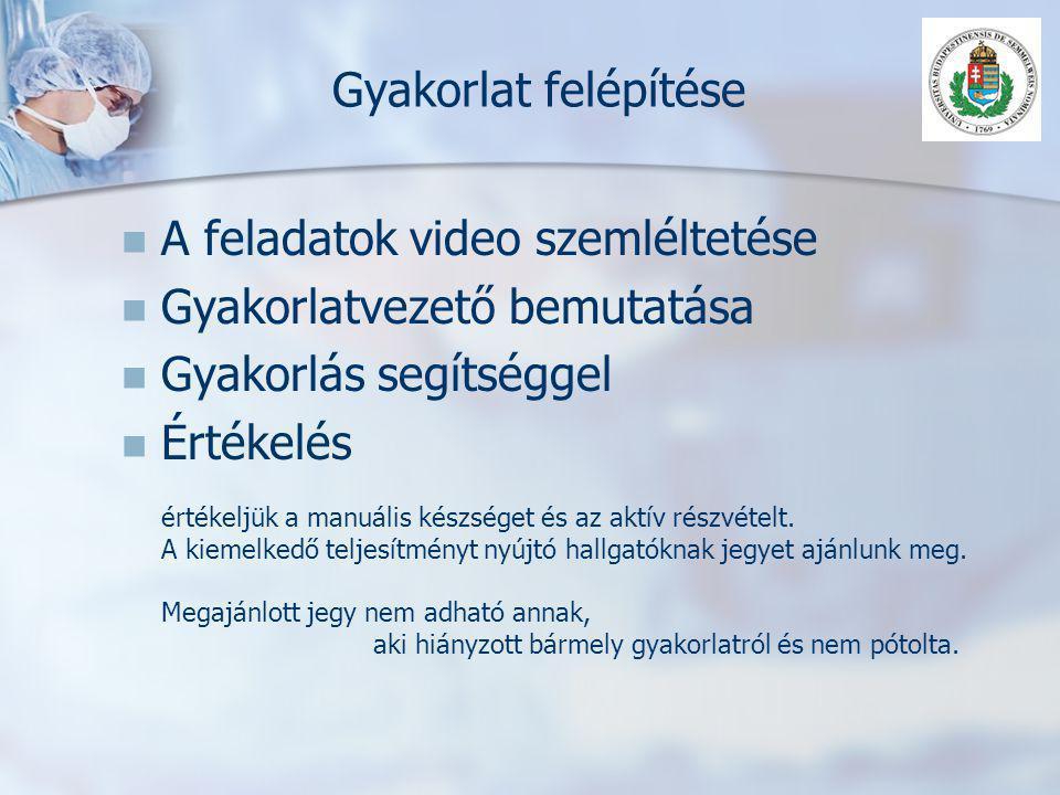 A feladatok video szemléltetése Gyakorlatvezető bemutatása