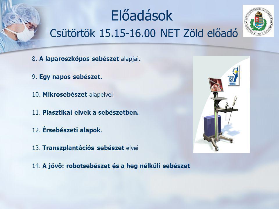Előadások Csütörtök 15.15-16.00 NET Zöld előadó