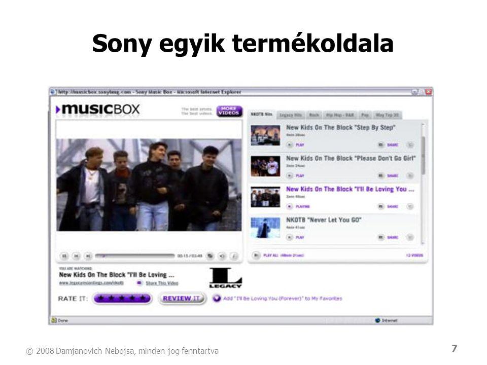 Sony egyik termékoldala